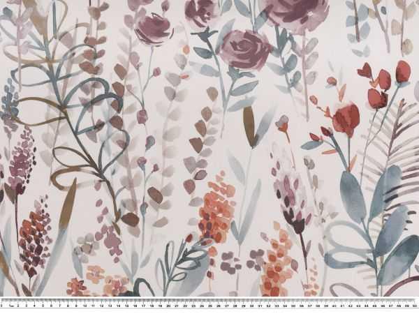 140cm Halbpanama-Dekostoff weiß-pink Rosen