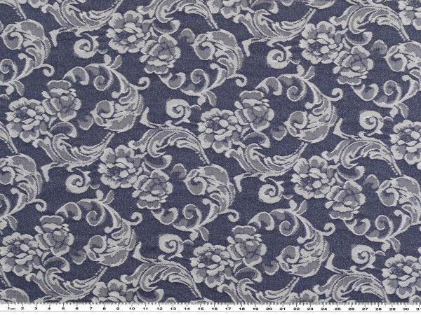 stretch jacquard denim blumen dunkelblau wei 142cm stretch stoffe bekleidungsstoffe. Black Bedroom Furniture Sets. Home Design Ideas
