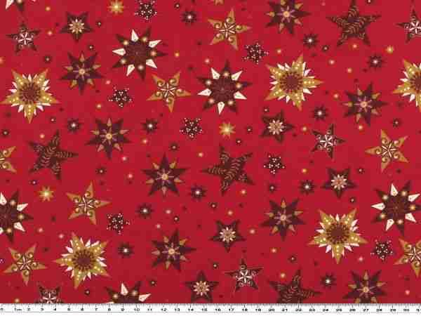 Dekostoff Weihnachten rot gold Sterne