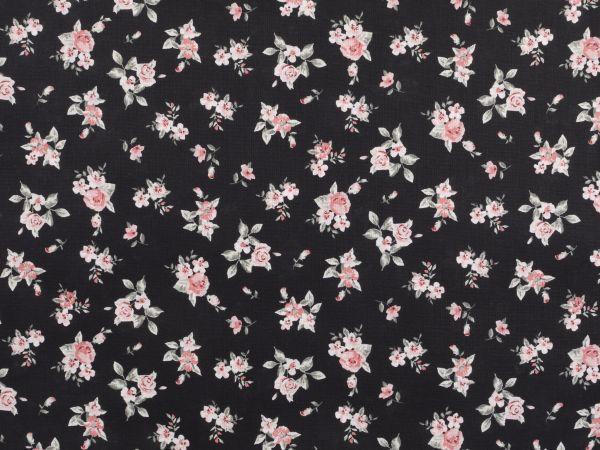baumwoll druck kleine blumen schwarz 140cm blumen baumwollstoffe mit motiven. Black Bedroom Furniture Sets. Home Design Ideas