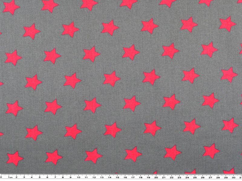 baumwolldruck mit sternen pink auf grau 140cm weitere motive baumwollstoffe mit motiven. Black Bedroom Furniture Sets. Home Design Ideas