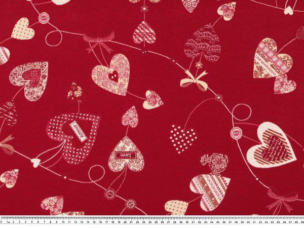 jacquard dekostoff herzen rot creme 140cm jacquard dekostoffe stoffe stoffe zanderino. Black Bedroom Furniture Sets. Home Design Ideas