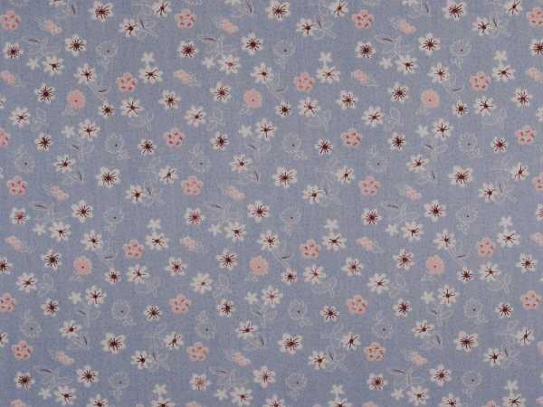 blau Baumwolldruck Blumen 140cm