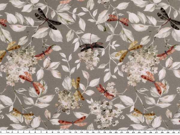 Digitaldruck 150cm hellgrün Baumwolle Libellen