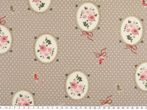 baumwoll popeline rosen medaillons pastellbraun 142cm. Black Bedroom Furniture Sets. Home Design Ideas