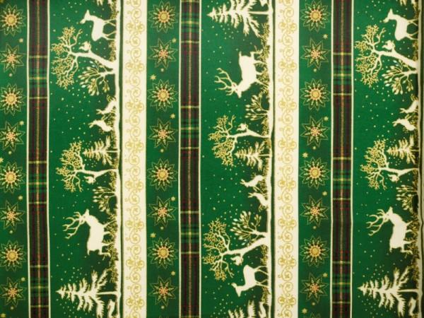 Knöpfe Weihnachtsmotive.Bedruckte Baumwolle Weihnachtsmotive Grün Gold Ca 140cm