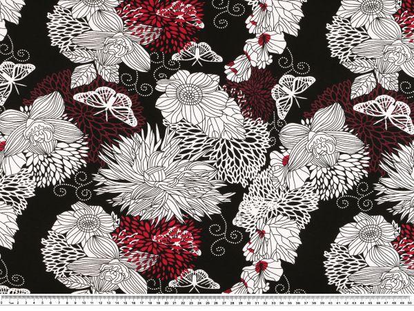 viscose jersey abstrakte blumen schwarz mehrfarbig 150cm gemustert viskosejersey. Black Bedroom Furniture Sets. Home Design Ideas