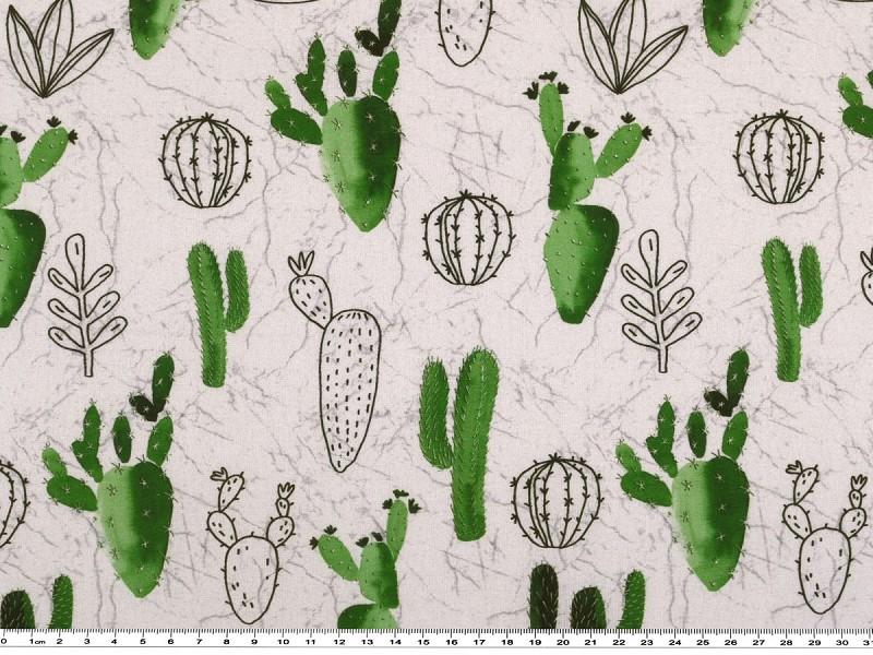 baumwoll popeline digitaldruck kaktus wei gr n 150cm. Black Bedroom Furniture Sets. Home Design Ideas