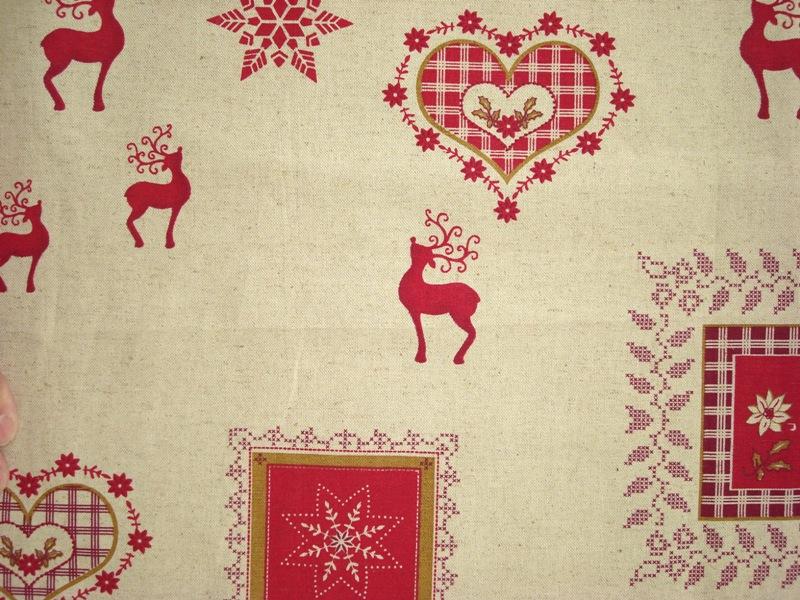 festlicher weihnachtsstoff baumwoll leinen 160cm weihnachten dekostoffe mit motiven. Black Bedroom Furniture Sets. Home Design Ideas