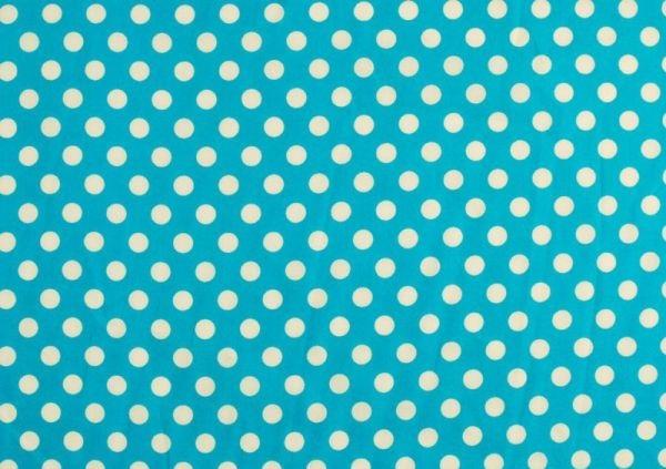 baumwollstoff mit punkten 0 8cm t rkis blau ca 135cm. Black Bedroom Furniture Sets. Home Design Ideas
