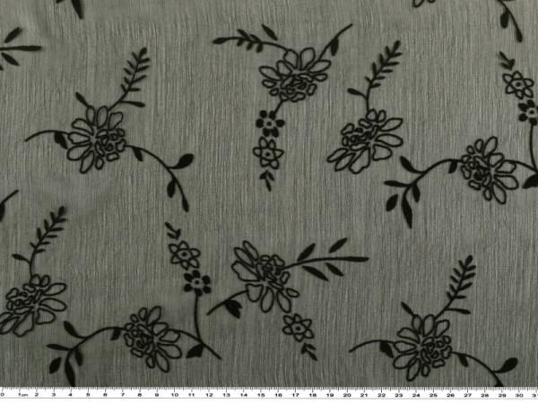 4ac5e4e2bd80 Chiffonartiger Stoff, beflockt, Blumen, schwarz, 150cm   Chiffon ...