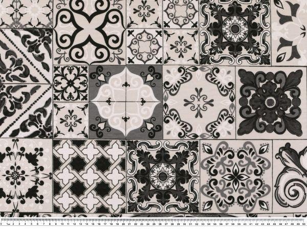 dekostoff kacheln und ornamente natur grau 140cm. Black Bedroom Furniture Sets. Home Design Ideas