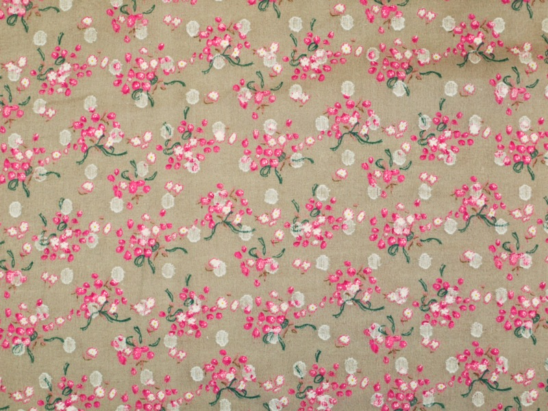 baumwoll batist mit blumen braun pink gr n wei 130cm. Black Bedroom Furniture Sets. Home Design Ideas