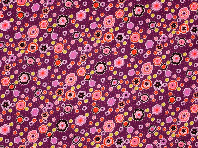 baumwolldruck k perware kleine blumen auf violett 145cm. Black Bedroom Furniture Sets. Home Design Ideas