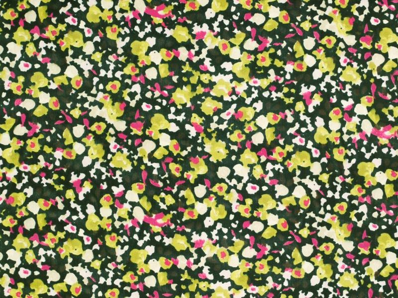 seiden chiffon blumen schwarz gr n pink 135cm modestoffe bekleidungsstoffe stoffe. Black Bedroom Furniture Sets. Home Design Ideas