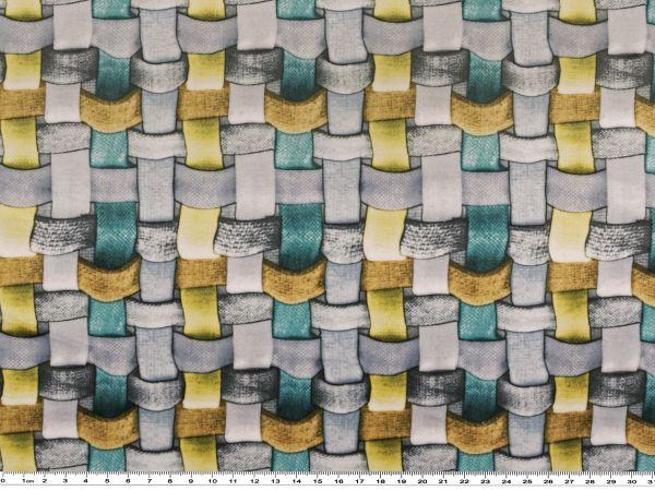 flecht muster matt gl nzend t rkis gelb grau 145cm. Black Bedroom Furniture Sets. Home Design Ideas