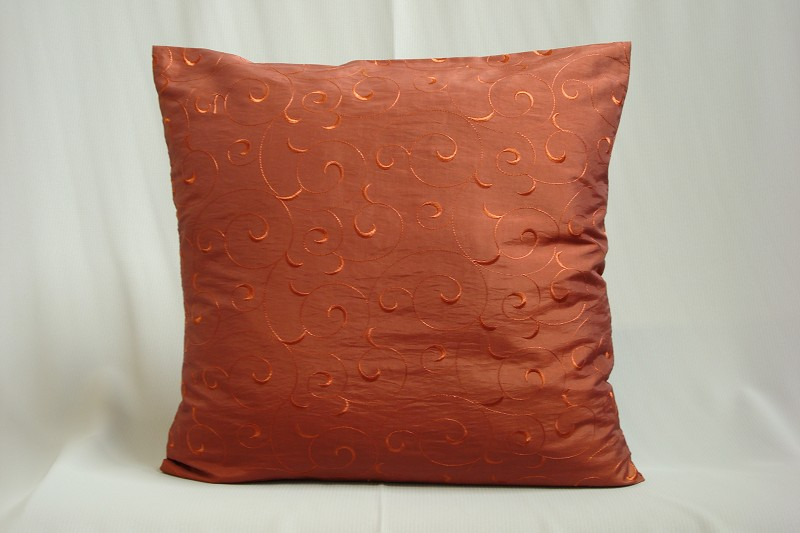 kissenh lle taft bestickt ranke 50x50 cm terrakotta. Black Bedroom Furniture Sets. Home Design Ideas