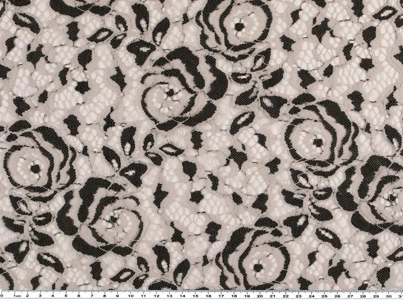 Fellmuster 145cm natur-schwarz Spitze bedruckt