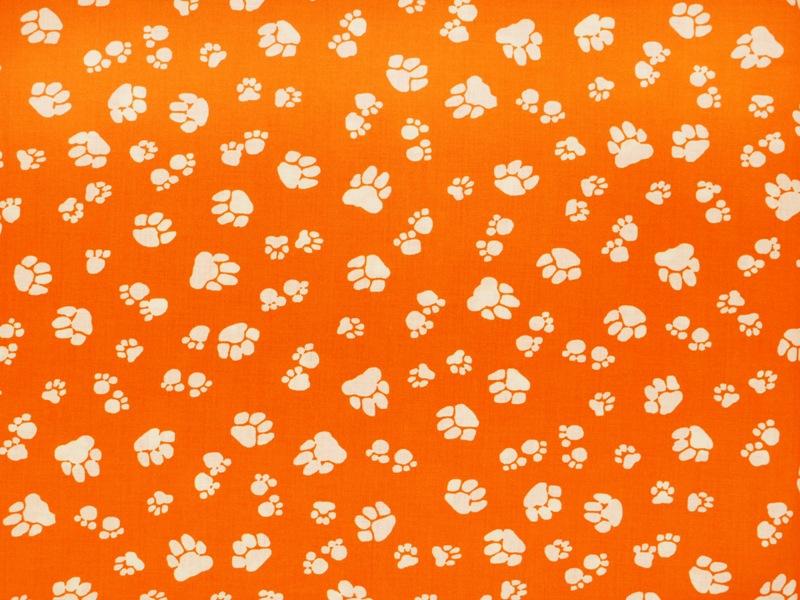kinderstoff tierpfoten orange weiss ca 140cm tiere. Black Bedroom Furniture Sets. Home Design Ideas