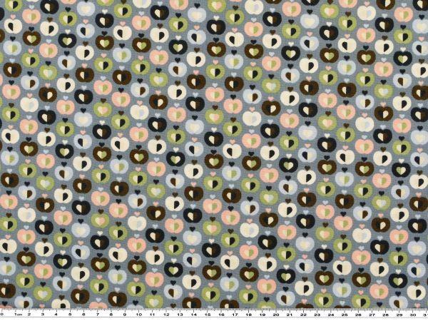Baumwoll-Druck Äpfel Herzen 142-145cm blaugrau