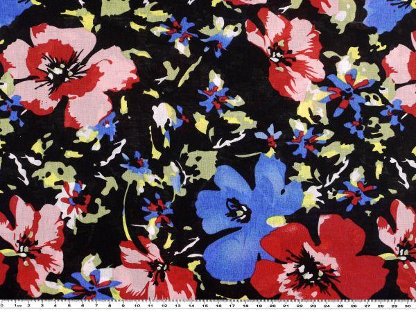 feiner baumwoll voile blumen schwarz multicolor 140cm. Black Bedroom Furniture Sets. Home Design Ideas
