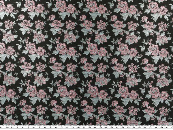 florales jacquard gewebe schwarz t rkis 160cm jacquard stoff bekleidungsstoffe stoffe. Black Bedroom Furniture Sets. Home Design Ideas