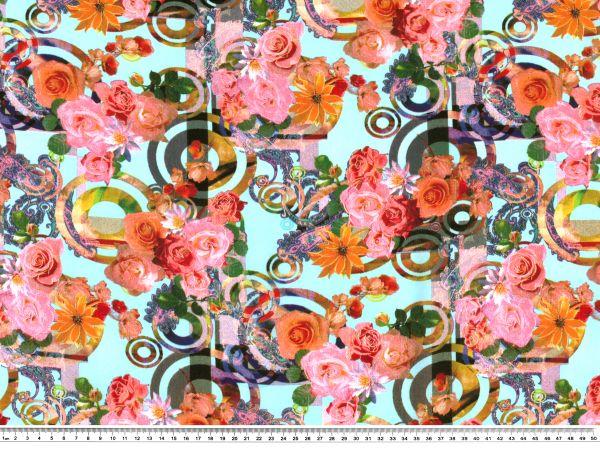 viskose javanaise druck rosen auf t rkis 140cm fr hjahr sommer modestoffe. Black Bedroom Furniture Sets. Home Design Ideas