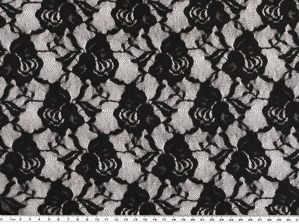 schwarz 140cm Spitze mit Blütenstickerei