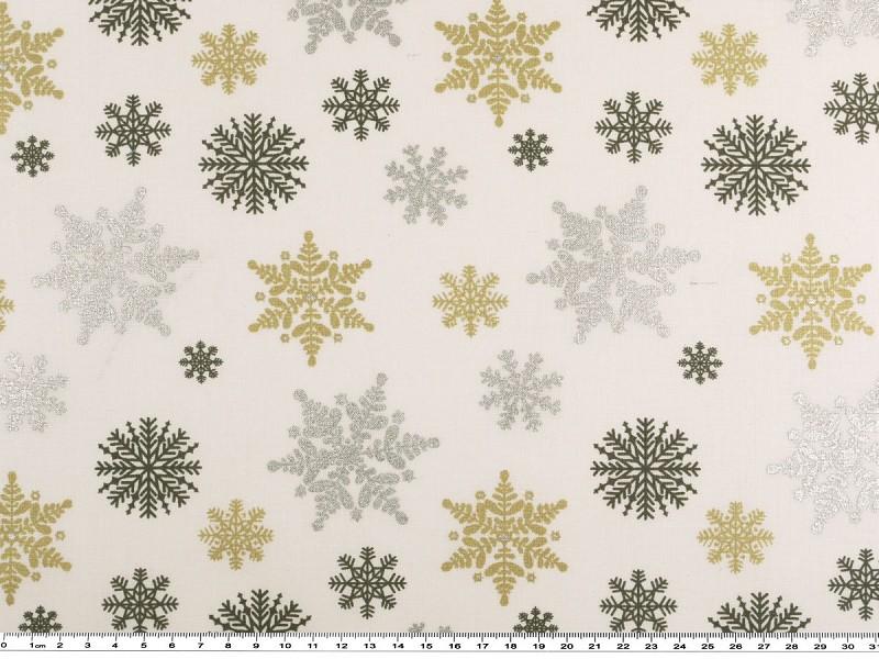 weihnachtsdekostoff schneekristalle wei gold silber 160cm dekostoffe mit drucken. Black Bedroom Furniture Sets. Home Design Ideas