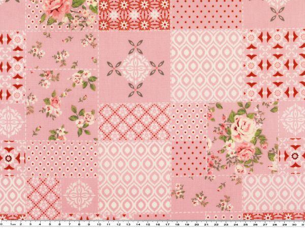 mathildas popeline stoff rosen patch rosa 142cm mathilda 39 s welt popeline baumwollstoffe. Black Bedroom Furniture Sets. Home Design Ideas