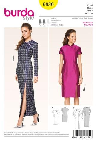 Burda Schnittmuster, chinesisches Kleid, Gr. 36-46 | Kleider | Damen ...