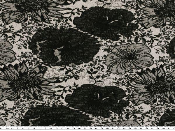 modischer jersey blumen schwarz wei 138cm gemustert baumwolljersey jerseystoffe. Black Bedroom Furniture Sets. Home Design Ideas